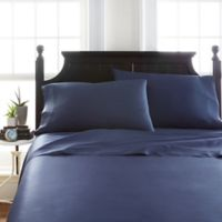 Viscose Deep-Pocket Twin Sheet Set in Navy
