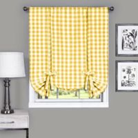 Achim Buffalo Check 63-Inch Rod Pocket Window Curtain Tie Up Shade in Yellow