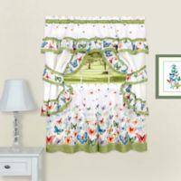 Achim Butterflies 36-Inch Rod Pocket Cottage Window Tier and Valance Set in Green
