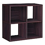 Way Basics Tool-Free Assembly 4-Cubby Quad Bookcase and Storage Shelf in Espresso Wood Grain
