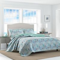 Laura Ashley Fish Friends Full/Queen Reversible Quilt Set in Pearl Grey