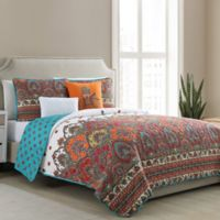 VCNY Home Adelia Damask Reversible Full/Queen Quilt Set in Spice
