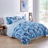 VCNY Home Tropical Leaf Reversible King Quilt Set in Blue