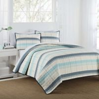 IZOD® Radford Stripe Reversible Full/Queen Quilt Set in Aqua