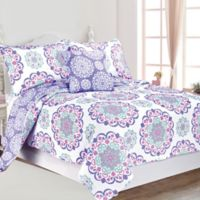 Vivian Reversible 4-Piece Full Quilt Set in Purple