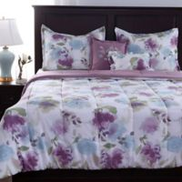 Berkshire Blanket Dreamy Floral 5-Piece Reversible Full/Queen Comforter Set in Purple