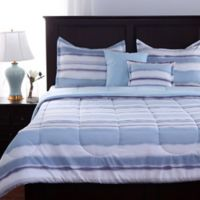 Berkshire Watercolor Stripe 5-Piece King Comforter Set in Blue