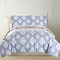 Pacific Coast Textiles Damask Down Alternative Reversible Full/Queen Comforter in Blue/Grey