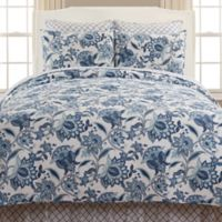 Julianna Jacobean Floral Reversible Twin Quilt in Blue