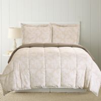 Pacific Coast Textiles Leaves 2-Piece Reversible Twin Comforter Set in Blush/Mauve