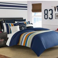 Nautica® Heritage Sailing Stripe Reversible Twin Comforter Set in Navy