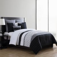 VCNY Home Winston Embroidered 7-Piece Full/Queen Comforter Set in Black/White