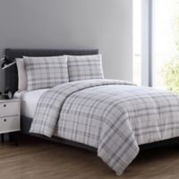 VCNY Home Box Plaid 3-Piece Full/Queen Comforter Set in Taupe
