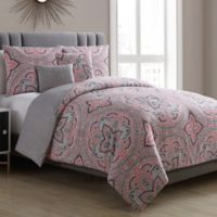 VCNY Home Allison Medallion 5-Piece Reversible King Comforter Set in Coral