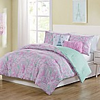VCNY Home Marbella Paisley Reversible 4-Piece Twin Comforter Set in Pink/Aqua