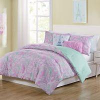 VCNY Home Marbella Paisley Reversible 4-Piece Twin Comforter Set in Pink/Aqua