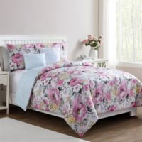 VCNY Home Lucia Floral 5-Piece Reversible King Comforter Set in Pink