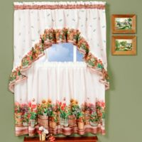 Achim Country Garden 36-Inch Kitchen Window Curtain Tier Pair and Swag Set in Red/Green