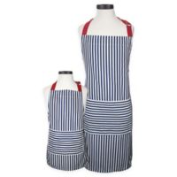 Handstand Kitchen Striped 2-Piece Parent-Child Apron Set in Blue/Red
