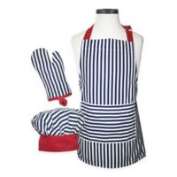 Handstand Kitchen Kid's 3-Piece Striped Apron Set in Blue/Red