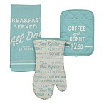 kate spade new york Order's Up 3-Piece Kitchen Towel, Oven Mitt and Pot Holder Set in Turquoise