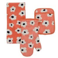 kate spade new york Faye 3-Piece Kitchen Towel, Oven Mitt and Pot Holder Set in Coral