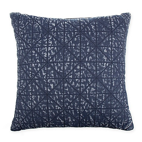 image of Denim Wash Quilted Square Throw Pillow in Blue