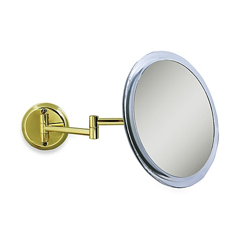 Zadro 5x Wall Mounted Makeup Mirror In Brass Bed Bath