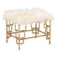 Ridge Road Decor Faux Fur Upholstered Ottoman in White/Gold