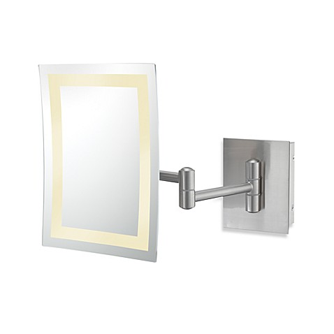 Kimball young single sided 3x led rectangular wall Bathroom wall mirrors brushed nickel