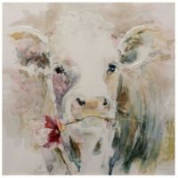 40-Inch x 40-Inch Watercolor Cow Canvas Wall Art