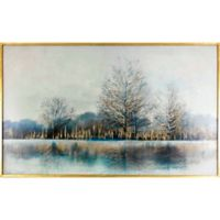 """Across the Lake"" 52-Inch x 32-Inch Framed Embellished Canvas Wall Art"