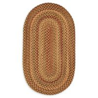 Capel Rugs Manchester 9'2 x 13'2 Braided Oval Area Rug in Gold/Red