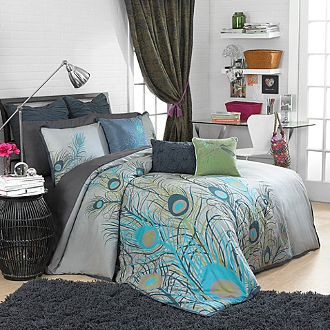 Peacock feathers duvet cover set 100 cotton bed bath beyond - Peacock bedspreads ...