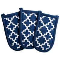 Design Imports Lattice Pan Handle Covers in Blue (Set of 3)