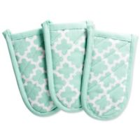 Design Imports Lattice Pan Handle Covers in Aqua (Set of 3)