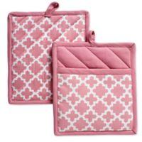 Design Imports Lattice Pot Holders in Pink (Set of 2)