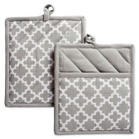 Design Imports Lattice Pot Holders in Grey (Set of 2)