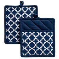 Design Imports Lattice Pot Holders in Blue (Set of 2)