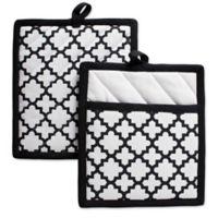 Design Imports Lattice Pot Holders in Black (Set of 2)