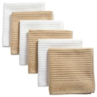 Design Imports Ribbed Terry Dishcloth in Brown (Set of 6)