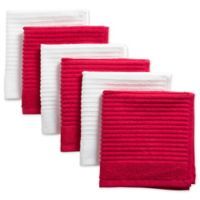 Design Imports Ribbed Terry Dishcloth in Red (Set of 6)