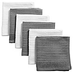 Design Imports Ribbed Terry Dishcloth in Grey (Set of 6)