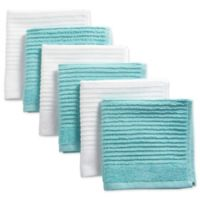 Design Imports Ribbed Terry Dishcloth in Aqua (Set of 6)
