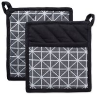 Design Imports Triangle Pot Holders (Set of 2) in Black