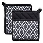 Design Imports Diamond Pot Holders (Set of 2) in Black