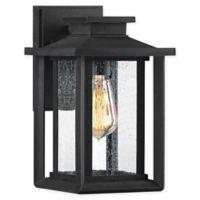 Quiozel Wakefield 11-Inch 1-Light Wall-Mount Outdoor Wall Lantern in Earth Black