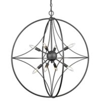 Filament Design Cage 8-Light 30-Inch Ceiling Mount Pendant Light in Bronze