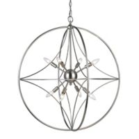 Filament Design Cage 8-Light 30-Inch Ceiling Mount Pendant Light in Brushed Nickel