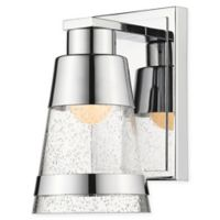 Filament Design Ethos 1-Light LED Wall Sconce in Chrome with Seeded Glass